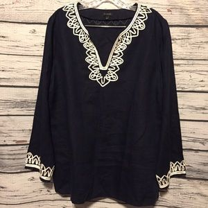 Talbots navy blue white embroidered linen tunic